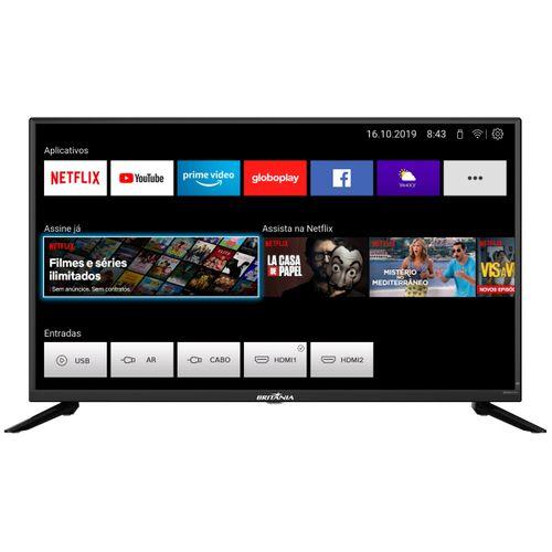 "Smart TV Britânia 39"" BTV39G60N5CH D-LED HD Netflix Bivolt"