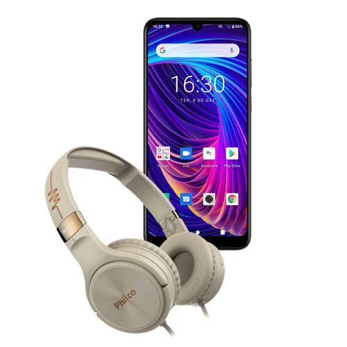 Kit Smartphone PCS02SG 128GB Hit Max + Fone Philco PFO02G Bivolt