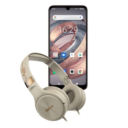 KIT Philco Smartphone PCS02RG 128GB Hit Max + Fone PFO02G Bivolt